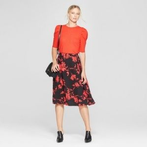 NWT PLUS Who What Wear Red Black Midi Skirt 18